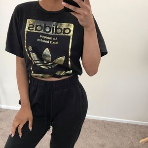 Black adidas originals drawstring crop tee